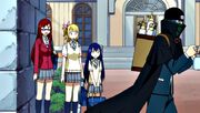 Erza, Lucy and Wendy see Mystogan