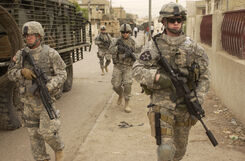 Elements of the 3rd Stryker brigade on patrol in Iraq -a