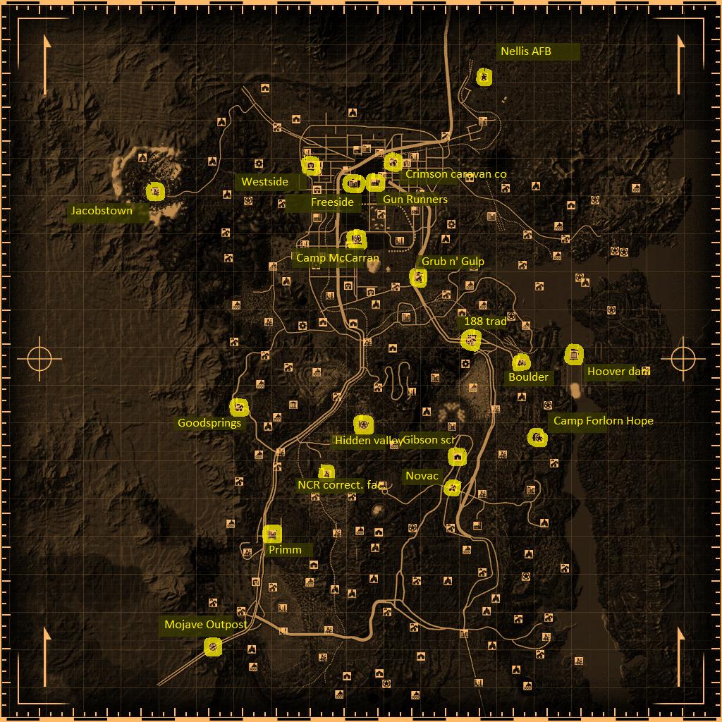 Carte entière du Mojave : impossible de trouver tous les endroits tant ils sont nombreux