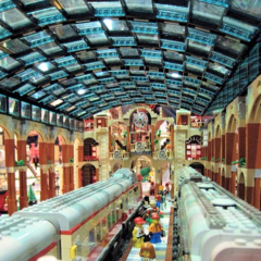 The Victorian interior of the Ambrose Hill Train Station, which was retained even after the bombings that devastated part of the building - the glass roof, however, was a modern addition in 2010 - this photo is of the minute East Wing (the main part of the building has a row of shops, as well as a much more broad train line)
