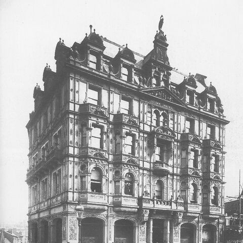 The Stork Hotel shortly after being polished. Built in 1867, this hotel served many generations until 1966 when it was finally closed for the construction of Blue Ringway.