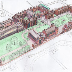 An overview of the Private Park per its Edwardian designers, the original Park Hall pictured. The only difference therebetween and the current Park Hall is the juxtaposition of brick styles.