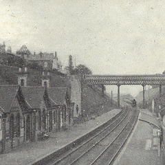 The station of Fishmarket, with the slums in the background overlooking it, photo taken 1910. The station is still in operation today, albeit note the slums' departure from the scene with a 70's townhouse scheme dominating the area.