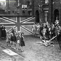 VE Day celebrations in Fishmarket on James Street, the only street in Fishmarket that presently has slums, though note they're not the ones pictured, which were demolished soon thereafter, being replaced with 70's townhouses in the area's regeneration. The street's surviving slums and back-to-backs have become Fishmarket's biggest monument, earning an average £1m per year (though note the street is almost a mile long, with more than half of it dedicated thereto). It is located in western Fishmarket near Ambrose Hill so, naturally, it survived the war relatively well.