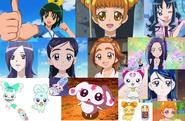Nao, Alice, Erika, Setsuna, Honoka, Saki, Ellen, Karen, Hummy, Flappy, Mipple, Lance and Coffret