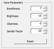 Kibiyoko Victoria's voice parameters