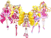 Shiny Luminous with Cures Peach, Heart, Flora & Miracle