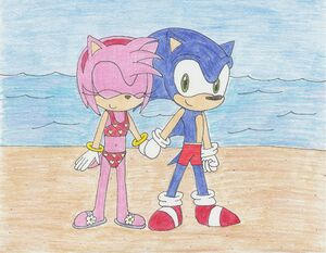 Sonic and amy swimming