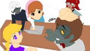 Vanna, Mama, Ceri, Nyx and a random zombie