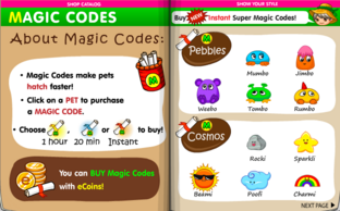 Magic codes for pets