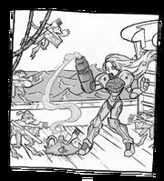 Samus aran fights space pierats