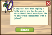Giant Mardi Gras Tree Growth Message