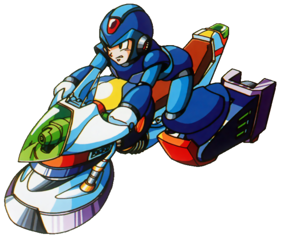 File:Mega Man X - Mega Man X riding a speed hover bike.png