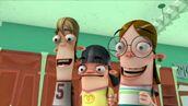 Duke, Nancy and Yo like the bouncy house