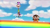 Hopping on the rainbow