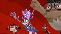 League of Destruction charging against the Super Chums - close up