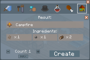 Campfire - Crafting Screen