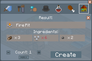 Fire Pit - Crafting Screen
