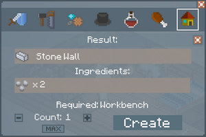Stone Wall - Crafting Screen