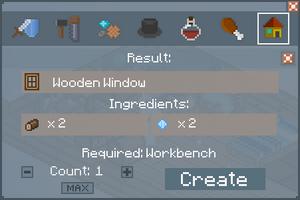 Wooden Window - Crafting Screen