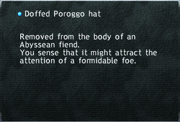 Doffed Poroggo hat
