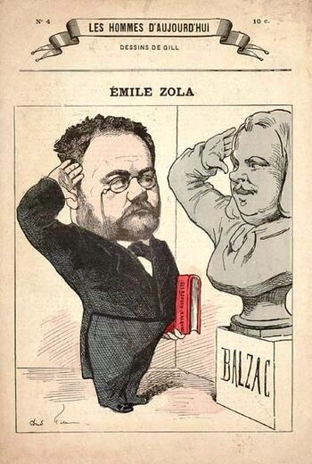 Caricaturen Zola Balzac