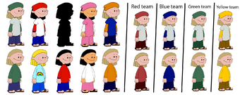 Annie Frazier costumes/colors 1-10 and teams