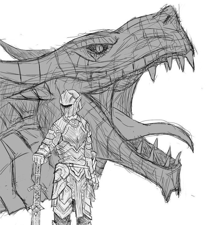 Skyrim dovahkiin sketch by larvus91-d4zw7u5