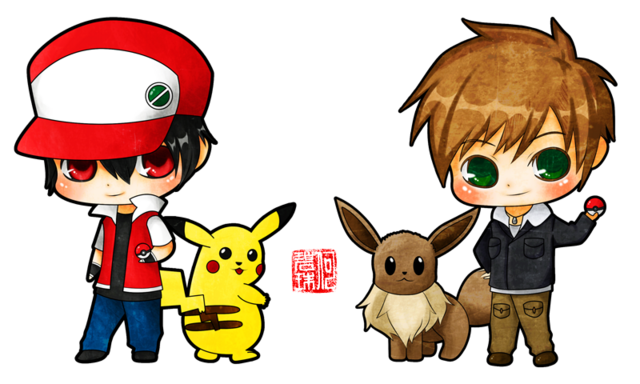 File:Pokemon red vs green by kyrill 301-d2z93ml.png