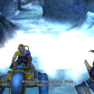 Kimahri and Tidus on the machina sleds.