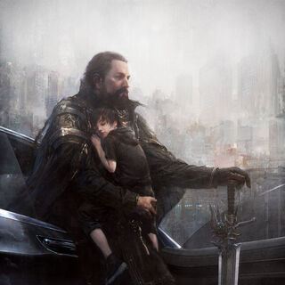 Artwork of young Noctis and Regis with the Sword of the Father.