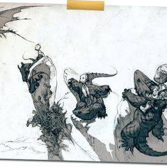 The Heroes riding dragons.