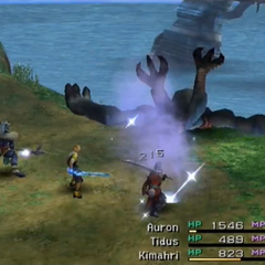 Chocobo Eater knocked off the cliff.