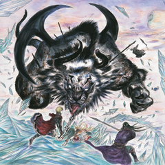 Artwork of Rain and Lasswell facing a monster by Yoshitaka Amano.