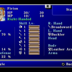 First page of the Status menu in the PSP version.
