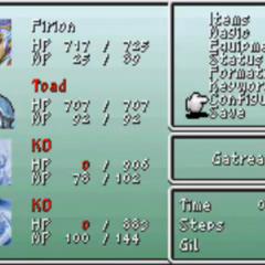 Maria as a toad in the menu of <i>Final Fantasy II</i> (PSP).
