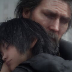 A close-up shot of King Regis and young Noctis in the <i>Dawn</i> trailer.