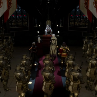 Infantry soldiers in the Emperor's throne room.