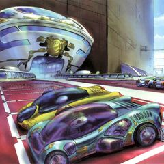 Colored concept art of the outside of the laboratory.