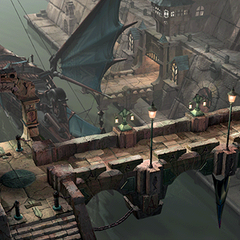 Port with airship docked in it.