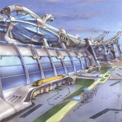 Concept art of the exterior building.