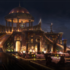 Concept art of the hotel rooftop.