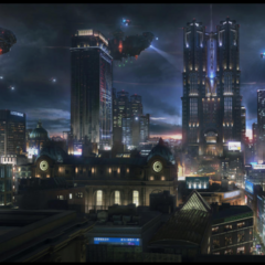 The Citadel and the light of the Crystal in a nocturnal Insomnia (concept art for <i>Kingsglaive</i>).