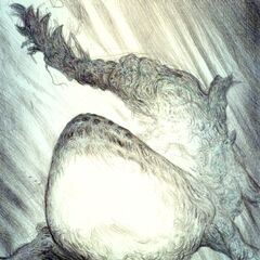 A frontal image of Sin as drawn by Yoshitaka Amano.