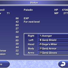 Status menu in the iOS version.