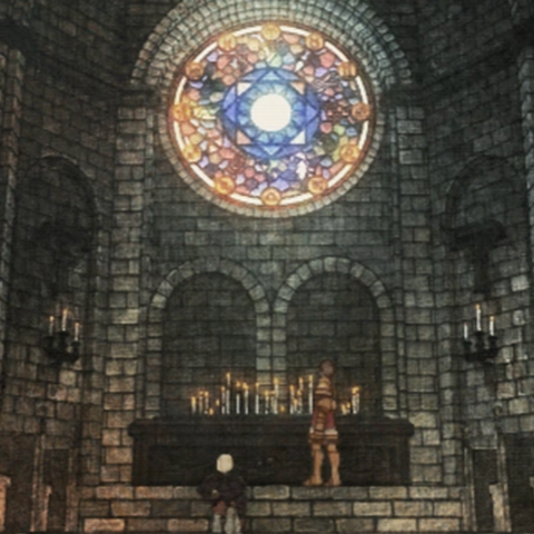 The stained glass mosaic in the Zeltennia Chapel depicts the Zodiac.