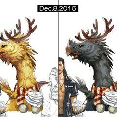 Chocobo art for Christmas 2015.