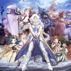 Artwork of Whyt on Rydia's shoulder, alongside the rest of the <i>Final Fantasy IV</i> cast by Airi Yoshioka (DS).