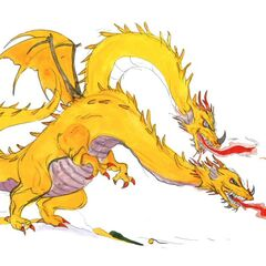 Artwork of Two Headed Dragon by Yoshitaka Amano.