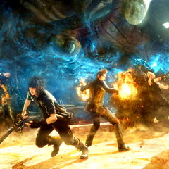 Promotional artwork of Noctis and his friends battling Niflheim troops at the Disc of Cauthess.